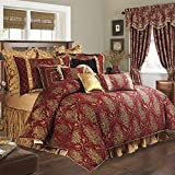 TOPLUXE 12-Piece Comforter Bed in a Bag, Classic Damask Jacquard Comforter Set Queen Size, Luxury Microfiber Bedding Sets with Bed Skirt, Euro Shams and Decorative Pillows, All Season(Queen,Florence)