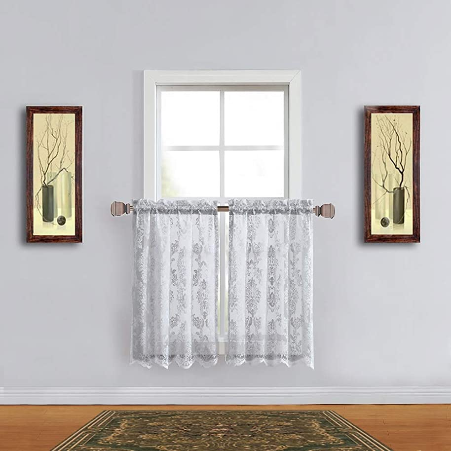 Warm Home Designs Pair of 30 Inches Wide x 24 Inches Long Silver Color Knitted Lace Kitchen Tiers with Charming Flower Pattern. Add Swags & Valance for Ultimate Elegant Look. FI Silver Tiers 24