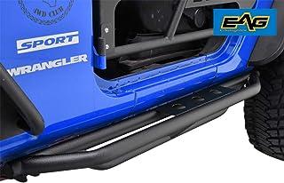 EAG Side Steps Armor Fit for 07-18 Jeep Wrangler JK 2 Door Rock Sliders Nerf Bars Running Board Rail Step