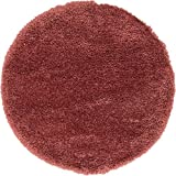 "Infinity Collection Solid Shag Round Rug by Rugs.com – Rose 6' 8"" Round High-Pile Plush Shag Rug Perfect for Dining Rooms, Living Rooms, Bedrooms and More"