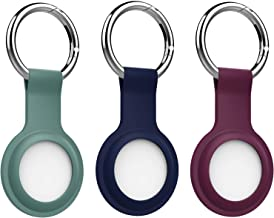MoKo Protective Case for AirTag 2021, 3-Pack Soft Silicone Tracker Holder with Key Chain, Easy Carry AirTag Cover for Keys, Backpacks, Liner Bags, Dark Blue & Plum & Dark Green