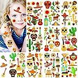 Qpout Fiesta Tatuajes temporales para niños, Etiqueta engomada falsa del tatuaje del día de los muertos del diseño 120, Cráneo del azúcar Esqueleto Cactus Guitarra Tatuaje