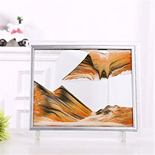 PROW Glass Frame Moving Sand Sculpture Dynamic Sand Picture Abstract Scenery Sand Image Hourglass Desktop Art Perfect Xmas Gift - Yellow Sand