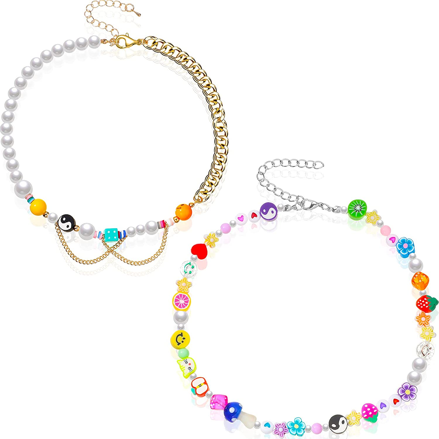 2 Pieces Beaded Necklace Y2K Smile Face Yin Yang Colorful Artificial Pearl Beads Choker Necklace Boho Cute Necklace Vsco Handmade Choker for Girls Women