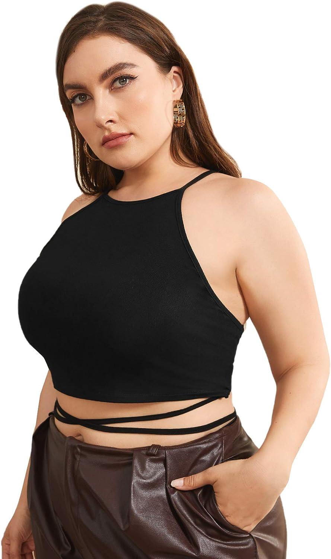 SheIn Women's Plus Sleeveless Crisscross Camisole Strappy Tie Back Crop Halter Tops