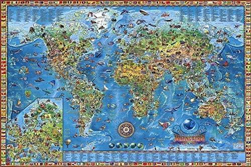 Legpuzzels voor volwassenen Kinderen, 1000/1500/2000/4000 stukjes - Prachtige kaart van de wereld, Educatief spel Verjaardagscadeau, Decompressiespeelgoed