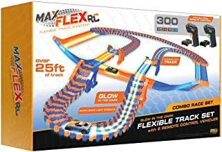Max Flex Combo 300 Award Winning R/C Light Trace Technology Glow in The Dark Flexible Track System with 2 1:64 Scale Remote Control Cars