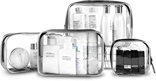 Clear Travel Toiletry Bag, 4 Pack Waterproof Toiletries Carry Pouch Zipped Cosmetic Makeup Organizer Case (Small, Medium, Large, X-Large)