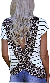 Women Open Back Blouse Stripe Leopard Printed Short Sleeve T Shirt Casual Summer Tee Top
