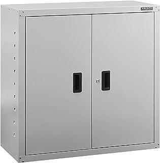Arebos Armoire de Bureau | Gris | 90 x 40 x 90 cm | 2 Portes | Tablette réglable en Hauteur | avec Serrure à Cylindre