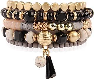 Bead Multi Layer Versatile Statement Bracelets - Stackable Beaded Strand Stretch Bangles Sparkly Crystal, Tassel Charm