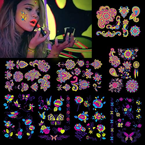 HOWAF 8 hojas Tatuajes temporales para adultos Mujer hombres, impermeable Tatuaje Temporal Fluorescente para fiesta Corporal maquillaje Tatuajes Brazo Cuello