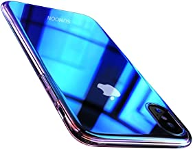 iPhone X Case, SUMOON Gradient Color Scratch Resistant Transparent Lightweight Case Shell Bumper Cover with Mirror Back Protective Ultra Slim Case Cover for Apple iPhone X (Blue)