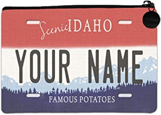 BRGiftShop Personalized Custom Name Idaho State License Plate Small Linen Coin Purse Bag with Zipper