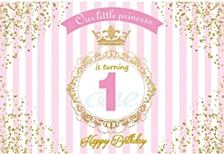 Leyiyi 7x5ft Little Princess 1st Birthday Backdrop Pink White Striped Banner Luxury Royal Crown Kids B Day Background Golden Glitter Spots Vintage Frame Cake Table Portrait Vinyl Prop Studio Wallpaper