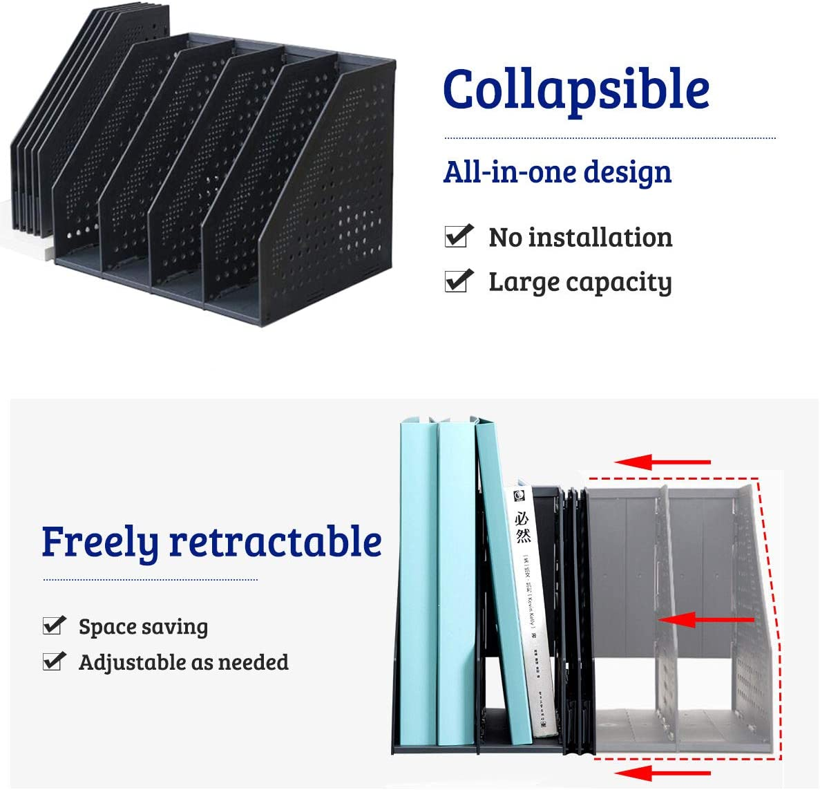 Lemical Freely Expandable File Holder Thickened PP File Organizer Sturdy No Assembly Foldable File Folder Stretchable 4 Sections Desktop File Frame Large Capacity File Storage Classifier File Divider