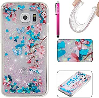 Galaxy S6 Case, Firefish Glitter Liquid Cover Slim Soft TPU Rubber Silicone Case Impact Resistant Durable Protective Case for Samsung Galaxy S6 -Flower
