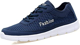 Casual shoes. Men's Atkletic Shoes Round Toe Flat Heel Solid Color Sneaker (Color : Dark Blue, Size : 48 EU)