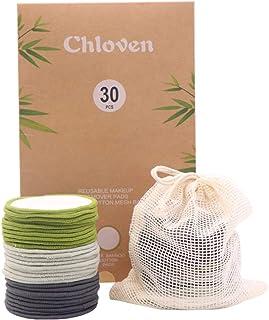 پد پاک کننده آرایشی قابل استفاده مجدد Chloven 30 Pack - دور پنبه قابل استفاده مجدد بامبو برای تونر ، قابل شستشو سازگار با محیط زیست برای همه انواع پوست با کیسه لباسشویی پنبه ای