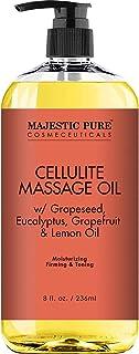 Majestic Pure Natural Cellulite Massage Oil, Unique Blend of Massage Essential Oils - Improves Skin Firmness, More Effecti...