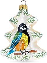 BestPysanky Colorful Bird On The Christmas Tree Glass Christmas Ornament