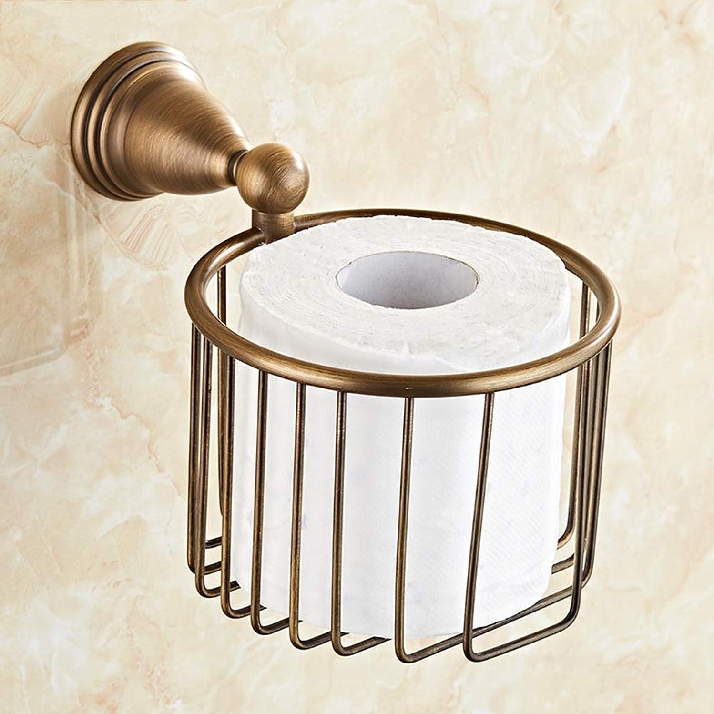アミューズ滝形ZZLX 紙タオルホルダー、無料パンチングヨーロッパスタイルフル銅バスルームのハードウェアアンティークトイレットペーパーホルダーロールホルダー ロングハンドル風呂ブラシ (色 : Punch hole)