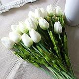 20 Stück Tulpe künstliche Blume Latex Real Touch Bridal Wedding Bouquet Home Decor (Weiß) - 2