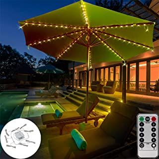 DBFairy Patio Umbrella Lights,Market Umbrella String Lights,Battery Operated,8-Ribs 104 LED,Remote Control,Timer,Dimmable,...