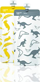 Cherub Baby On The Go Re-usable Maxi's Food Pouches – Kangaroo Grey & Cockatoo Yellow, Multi, 10 Count
