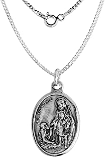 Sterling Silver St Edward Medal Necklace Oval 1.8mm Chain