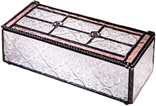 J Devlin Glass Art Box 508 Series Vintage Stained Glass Jewelry Trinket Decorative Box - Available in Blue or Pink (Pink)