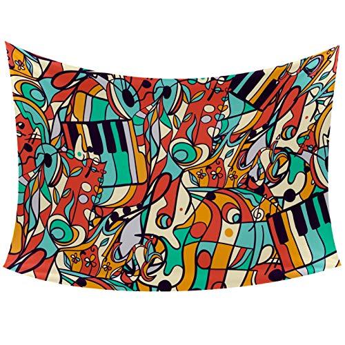 Notas musicales Instrumentos musicales Ilustración Tapiz para colgar en la pared para el hogar, decoración de la sala de estar, dormitorio, 152 x 101 cm