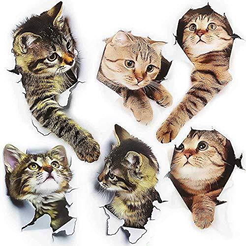 FYSL 6 pezzi Adorabile Adesivi con Gatto 3D Murali Rimovibili 3D Adesivi Vivid decori murale (cat) per Auto Finestra Toilette Bagno Camera da Letto Asilo Nido Cucina Decorazione della Parete
