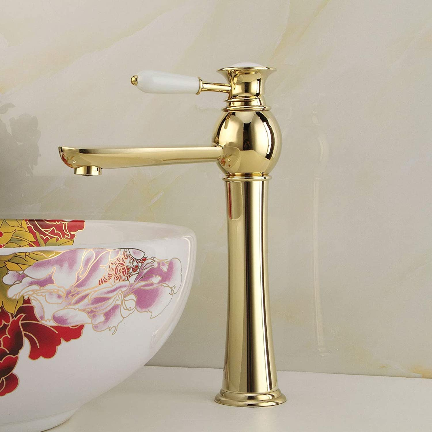 Retro High Spout Single Lever Basin Faucet,Antique Bathroom Ceramic Handle Hot and Cold Monobloc Countertop Mixer Tap,Luxury Sink for Shower Room Tap Polishing Finish (gold)