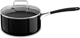 KitchenAid KC2A30PLOB Aluminum Nonstick 3.0 quart Saucepan with Lid - Onyx Black, Medium