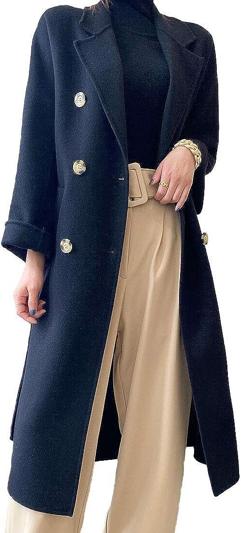 Generic Herbst und Winter 2020 Frauen Doppelgesicht Mantel Lange lose High-End Wolle Mantel Tibetisches Blau