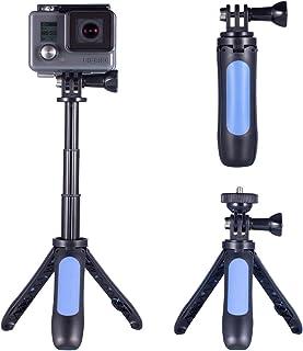 Homeet Mini Trípode para GoPro 2-en 1 Palo Selfie con Trípode de Mesa Soporte para Cámara Deportiva Trípode Portátil Palo Extensión Ajustable para SJCAM/Akaso/YI 4K/ Apeman y etc