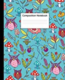 Composition Notebook: Wide Ruled Notebook and Journal - Cute Cartoon Owls & Mushrooms Blank Wide Lined Diary for Writing, Notes and Brilliant Ideas