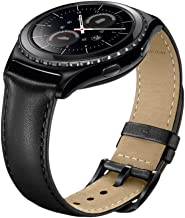 Gear S2 Classic Watch Band, Wollpo Premium Leather Bands with Bukle Spring Bar Replacement Watch Band for Samsung Gear S2 Classic Smartwatch (Leather, Black)