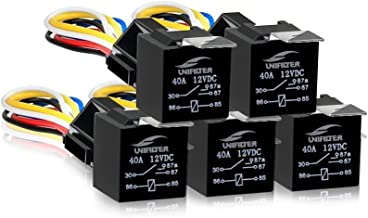Nilight 50003R Automotive Set 5-Pin 30//40A 12V SPDT with Interlocking Relay Socket and Wiring Harness-5 Pack,2 Years Warranty