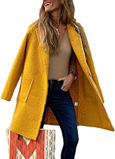 Womens Long Pea Coat Open Front Lapel Collar Wool Blend Overcoat