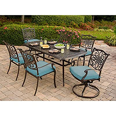 Hanover Traditions 7-Piece Cast Aluminum Outdoor Patio Dining Set, 4 Stationary Chairs, 2 Swivel Rocker Chairs, Brushed Bronze Finish with Blue Cushions, Rust-Resistant, TRADDN7PCSW-BLU