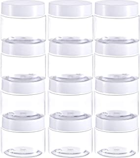 Empty 12 Pack Clear Plastic Slime Storage Favor Jars Wide-Mouth Plastic Containers with Lids for Beauty Products, DIY Slime Making or Others (2 Ounce, White)