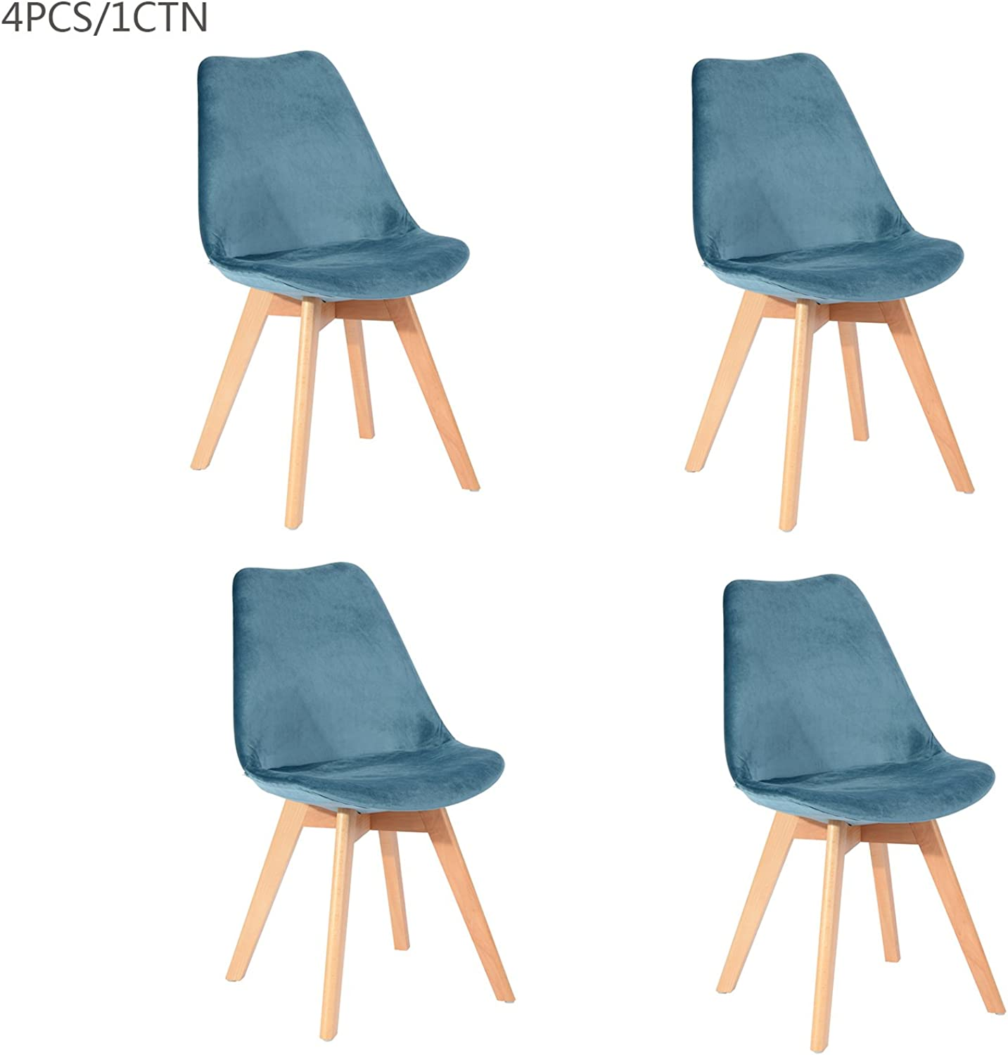 DSW Eames Chairs, Mid-Century Modern Upholstered Fabric Dining Chair with Solid Wood Legs (Sets of 4) (bluee Velvet 4PCS)