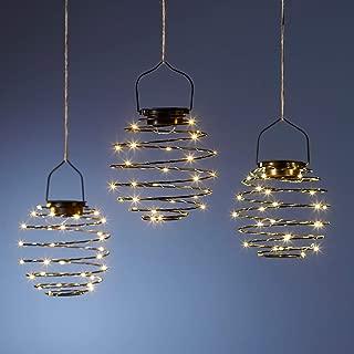NUOVO da appendere ad energia solare da giardino 35 LED luce bianca lanterna a spirale