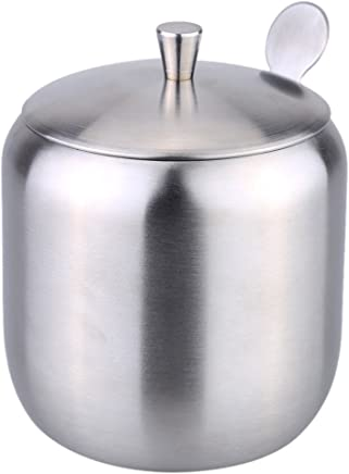 Anself Stainless Steel Cruet Seasoning Condiment Pot Sugar Coffee Can Container Drum Shaped with Spoon Silver