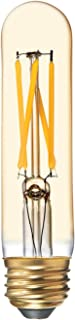 GE Lighting 36578 Amber Glass Light Bulb LED Vintage Style Dimmable T9 Tube 6 (60-Watt Replacement), 500-Lumen Medium Base, 1-Pack, Warm Candle