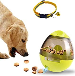 Dream-C Interactive Dog Food Ball and Reflective Nylon Collar With Bell, IQ Treat Ball, Slow Feeder Food Dispensing Dog/Cat Toys, Adjustable Kitten Puppy Collar Strip 7-11
