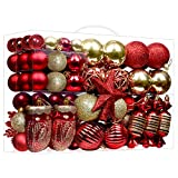 SHareconn Christmas Tree Ornaments Set, Shatterproof Holiday Ornaments Balls Decoration for Xmas Tree, Great Decorations for Family Holiday Party Wedding Hooks Included, Red & Gold