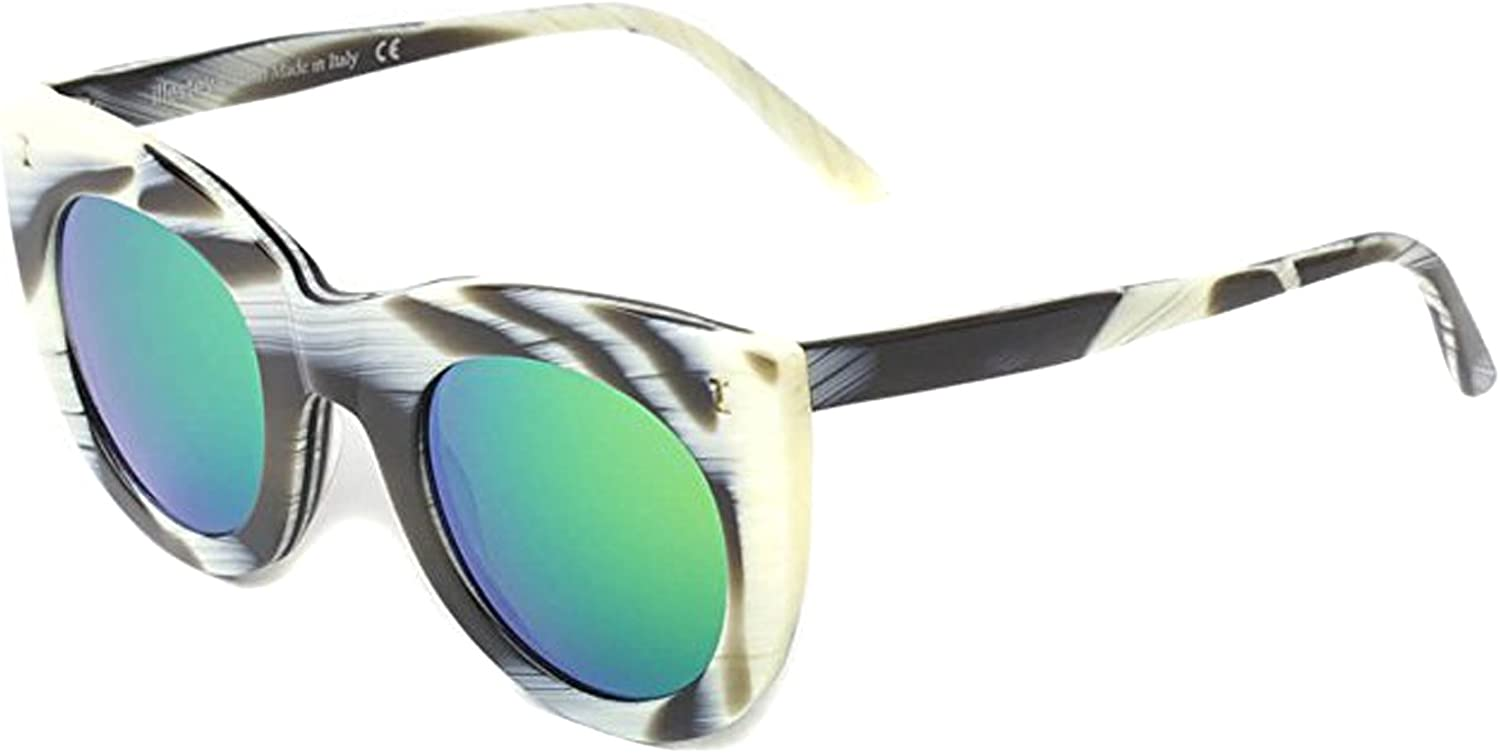 Illesteva Boca BOC 8GM Horn Green Mirror Sunglasses